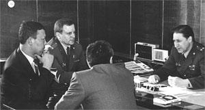 Рабочая встреча руководства МВД Тувинской АССР с монгольской делегацией в Кызыле. 1987 г.