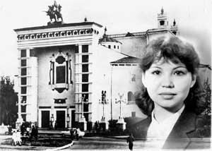 Раиса – выпускница хореографического училища – на фоне Бурятского академического театра оперы и балета.