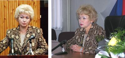 Людмила Нарусова 8 октября 2002 года (слева) и спустя два года – 14 октября 2004 года. Тот же костюм и тот же взгляд. Новое – только эксклюзивные украшения.