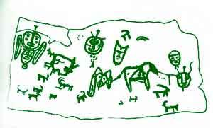 Одна из загадочных композиций, найденных на горе Алды-Мозага. На ней изображены удивительные личины различных форм. В верхнем левом углу две личины – уникальное двуединое изображение. На макушке верхней из них «антенна» с тройной развилкой на конце. По бокам – «крылья». Между двумя личинами нижнего ряда – крупная фигура лошади, соединенная с личинами выбитыми линиями. По бокам левой личины, не имеющей аналогов, свисают «уши» или «крылья».