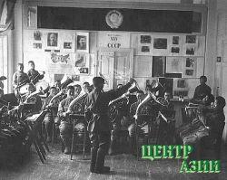 Кавалерийский духовой оркестр. Дирижер – Сергей Красный. Кызыл. 1944 год.